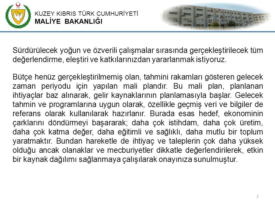 KUZEY KIBRIS TÜRK CUMHURİYETİ MALİYE BAKANLIĞI 14 Yıllardır göz ardı edilen ve 2014 yılı sonu itibarıyle 4.730 milyar Türk Lirası iç borç, 8,434 Milyar Türk Lirası dış borç olmak üzere 13,164 milyar Türk Lirasına yükselen ve GSYİH'nın % 149'una tekabül eden aşırı borç yükü ve bütçe açıkları büyümeyi, kalkınmayı engelleyici ve mali istikrarı bozucu faktör olarak önümüzde durmaktadır.