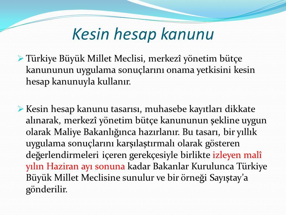 Kesin hesap kanunu  Türkiye Büyük Millet Meclisi, merkezî yönetim bütçe kanununun uygulama sonuçlarını onama yetkisini kesin hesap kanunuyla kullanır.