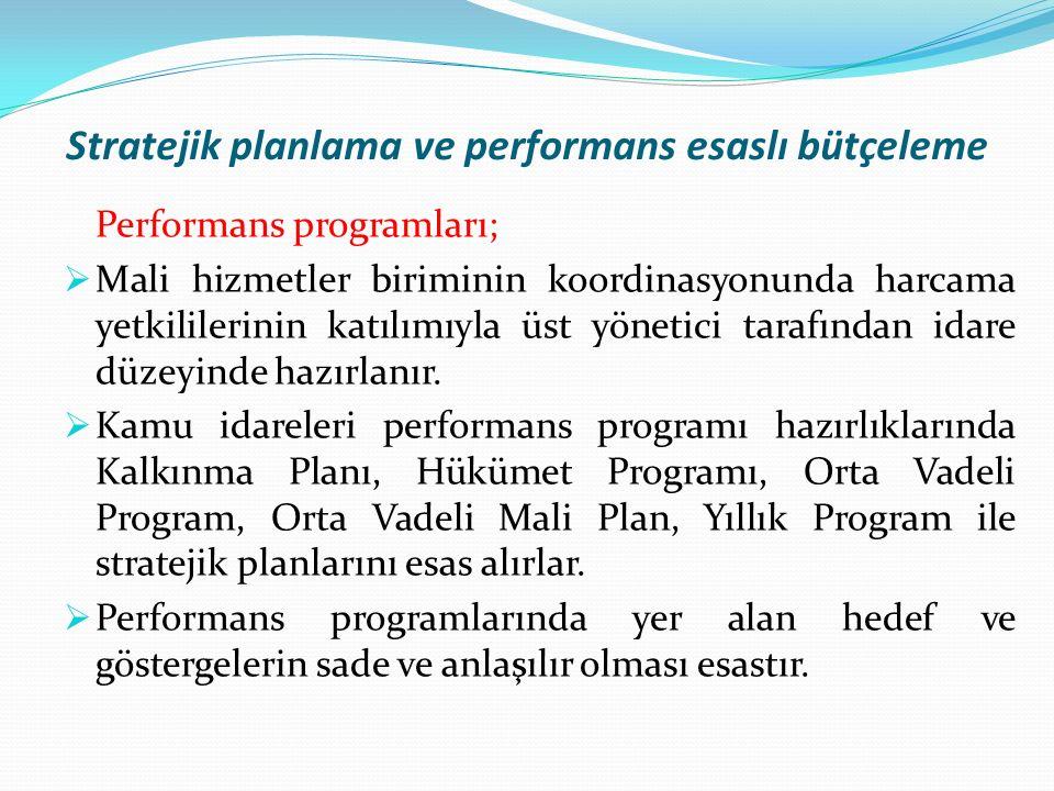 Stratejik planlama ve performans esaslı bütçeleme Performans programları;  Mali hizmetler biriminin koordinasyonunda harcama yetkililerinin katılımıyla üst yönetici tarafından idare düzeyinde hazırlanır.
