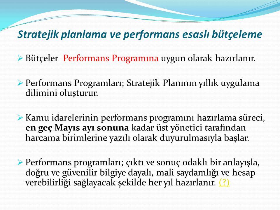 Stratejik planlama ve performans esaslı bütçeleme  Bütçeler Performans Programına uygun olarak hazırlanır.