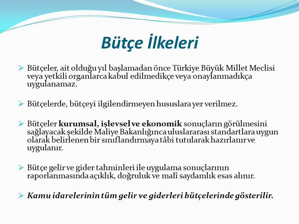 Bütçe İlkeleri  Bütçeler, ait olduğu yıl başlamadan önce Türkiye Büyük Millet Meclisi veya yetkili organlarca kabul edilmedikçe veya onaylanmadıkça uygulanamaz.