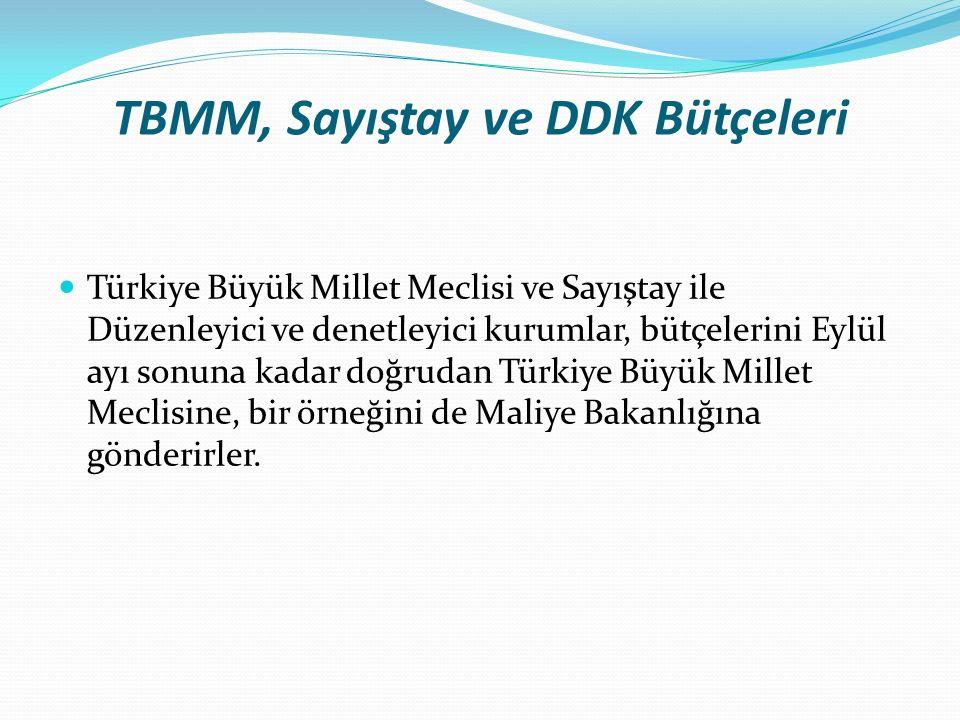 TBMM, Sayıştay ve DDK Bütçeleri Türkiye Büyük Millet Meclisi ve Sayıştay ile Düzenleyici ve denetleyici kurumlar, bütçelerini Eylül ayı sonuna kadar doğrudan Türkiye Büyük Millet Meclisine, bir örneğini de Maliye Bakanlığına gönderirler.