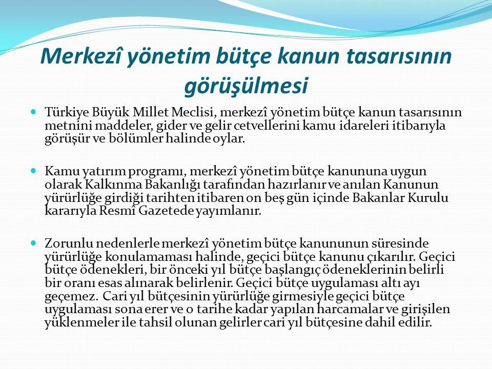 Merkezî yönetim bütçe kanun tasarısının görüşülmesi Türkiye Büyük Millet Meclisi, merkezî yönetim bütçe kanun tasarısının metnini maddeler, gider ve gelir cetvellerini kamu idareleri itibarıyla görüşür ve bölümler halinde oylar.