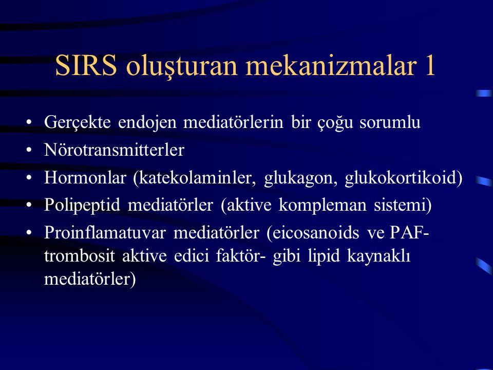SIRS oluşturan mekanizmalar 1 Gerçekte endojen mediatörlerin bir çoğu sorumlu Nörotransmitterler Hormonlar (katekolaminler, glukagon, glukokortikoid) Polipeptid mediatörler (aktive kompleman sistemi) Proinflamatuvar mediatörler (eicosanoids ve PAF- trombosit aktive edici faktör- gibi lipid kaynaklı mediatörler)