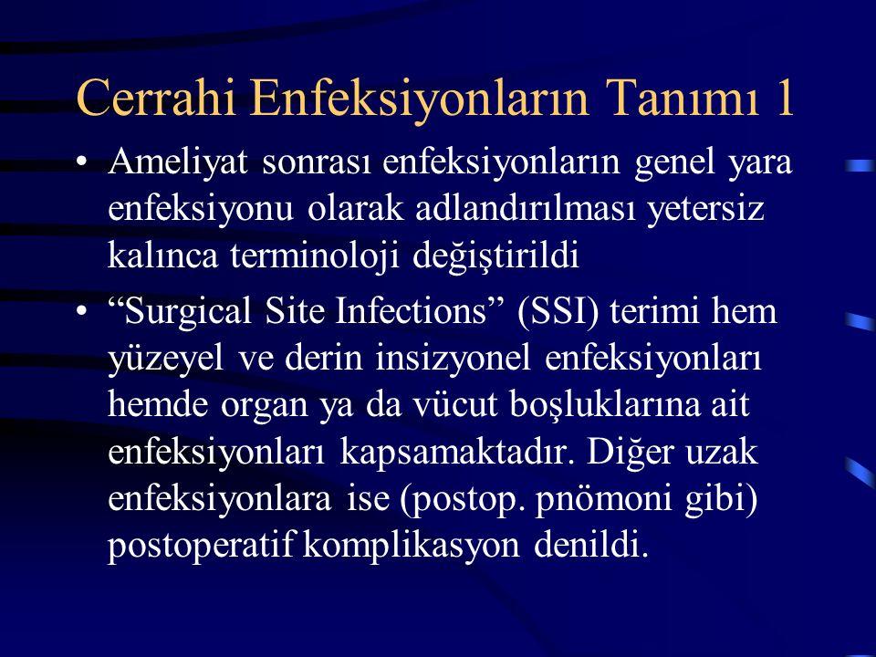 Cerrahi Enfeksiyonların Tanımı 1 Ameliyat sonrası enfeksiyonların genel yara enfeksiyonu olarak adlandırılması yetersiz kalınca terminoloji değiştirildi Surgical Site Infections (SSI) terimi hem yüzeyel ve derin insizyonel enfeksiyonları hemde organ ya da vücut boşluklarına ait enfeksiyonları kapsamaktadır.