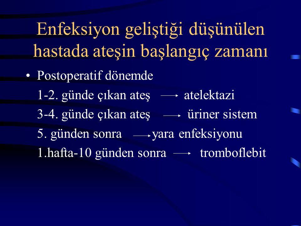 Enfeksiyon geliştiği düşünülen hastada ateşin başlangıç zamanı Postoperatif dönemde 1-2.