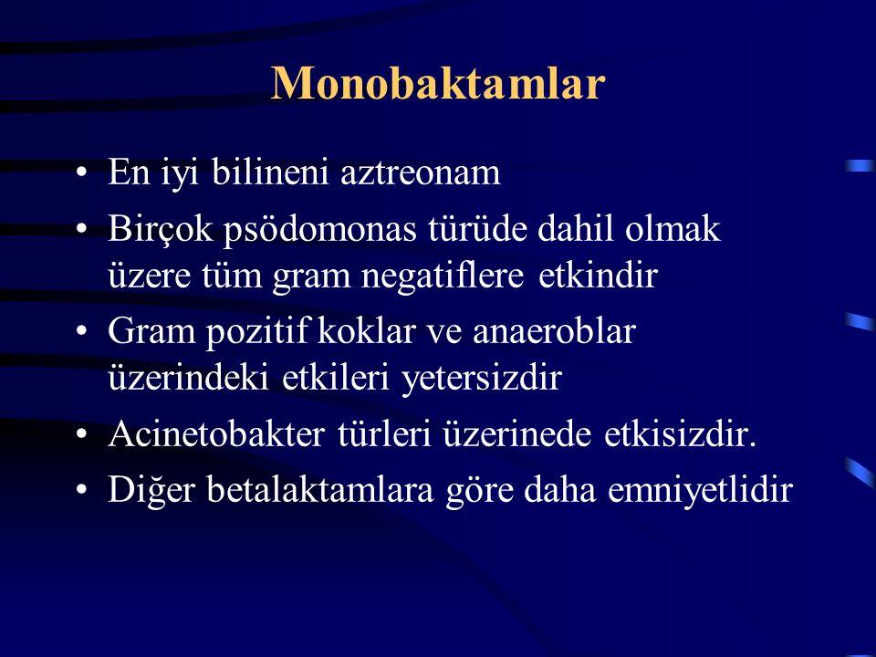 Monobaktamlar En iyi bilineni aztreonam Birçok psödomonas türüde dahil olmak üzere tüm gram negatiflere etkindir Gram pozitif koklar ve anaeroblar üzerindeki etkileri yetersizdir Acinetobakter türleri üzerinede etkisizdir.