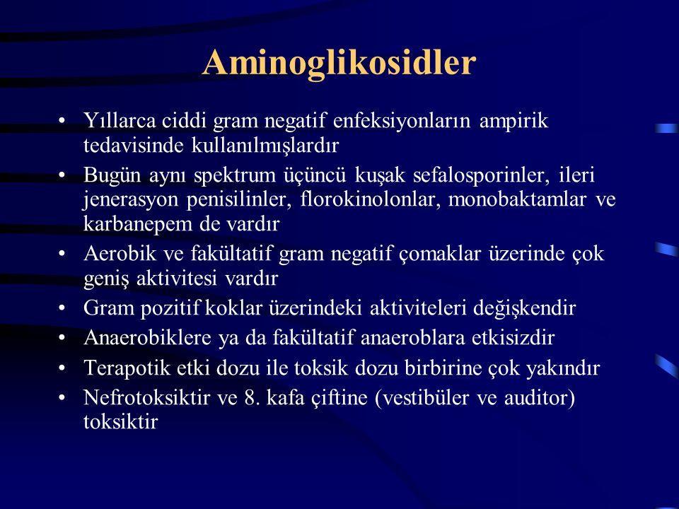 Aminoglikosidler Yıllarca ciddi gram negatif enfeksiyonların ampirik tedavisinde kullanılmışlardır Bugün aynı spektrum üçüncü kuşak sefalosporinler, ileri jenerasyon penisilinler, florokinolonlar, monobaktamlar ve karbanepem de vardır Aerobik ve fakültatif gram negatif çomaklar üzerinde çok geniş aktivitesi vardır Gram pozitif koklar üzerindeki aktiviteleri değişkendir Anaerobiklere ya da fakültatif anaeroblara etkisizdir Terapotik etki dozu ile toksik dozu birbirine çok yakındır Nefrotoksiktir ve 8.