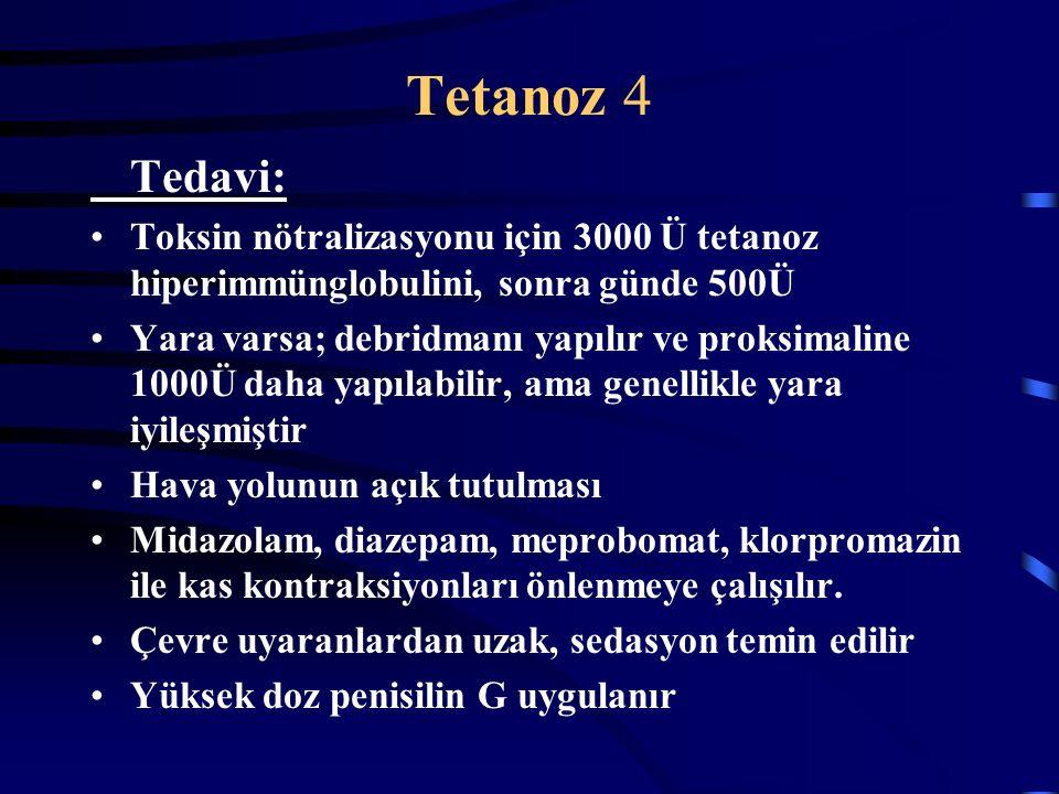Tetanoz 4 Tedavi: Toksin nötralizasyonu için 3000 Ü tetanoz hiperimmünglobulini, sonra günde 500Ü Yara varsa; debridmanı yapılır ve proksimaline 1000Ü daha yapılabilir, ama genellikle yara iyileşmiştir Hava yolunun açık tutulması Midazolam, diazepam, meprobomat, klorpromazin ile kas kontraksiyonları önlenmeye çalışılır.