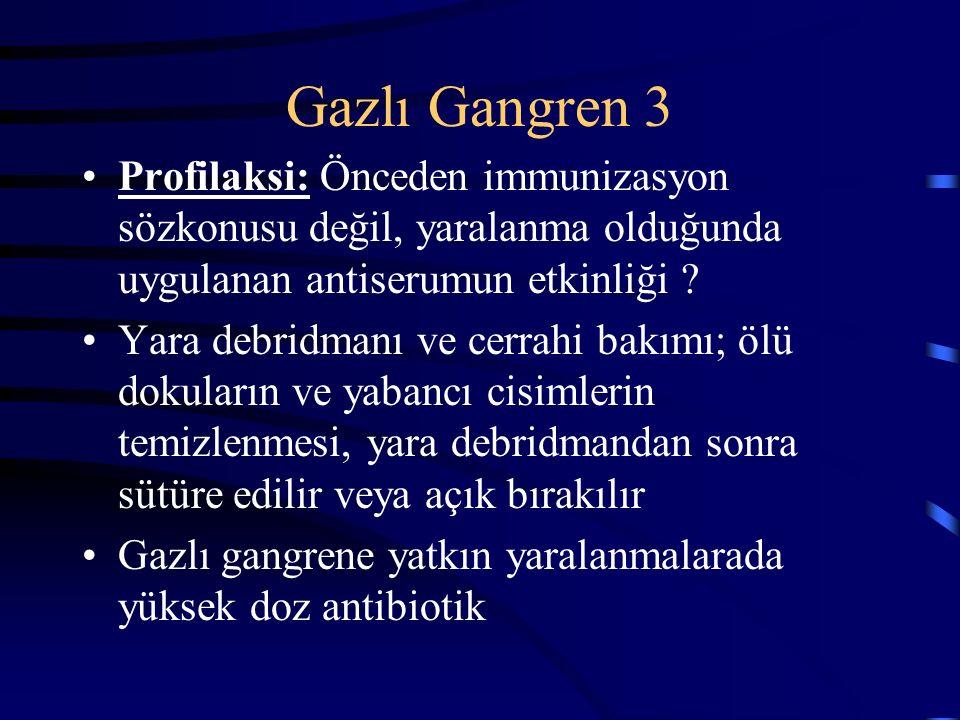 Gazlı Gangren 3 Profilaksi: Önceden immunizasyon sözkonusu değil, yaralanma olduğunda uygulanan antiserumun etkinliği .