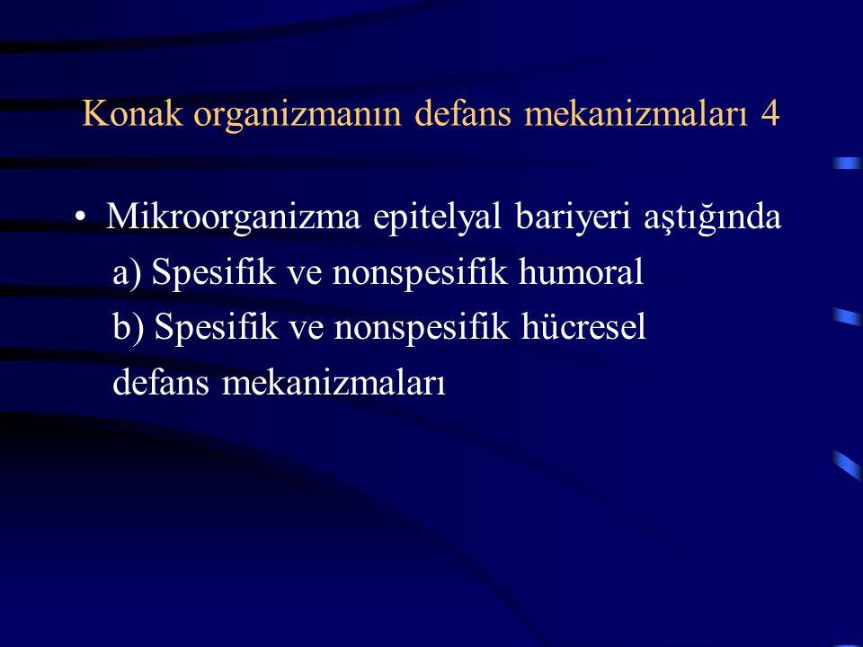 Konak organizmanın defans mekanizmaları 4 Mikroorganizma epitelyal bariyeri aştığında a) Spesifik ve nonspesifik humoral b) Spesifik ve nonspesifik hücresel defans mekanizmaları