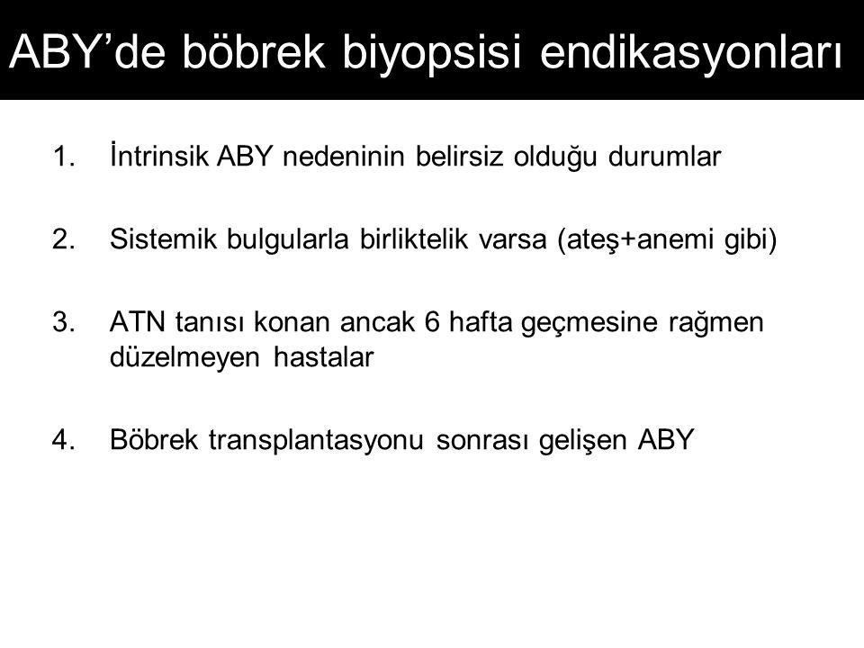 ABY'de böbrek biyopsisi endikasyonları 1.İntrinsik ABY nedeninin belirsiz olduğu durumlar 2.Sistemik bulgularla birliktelik varsa (ateş+anemi gibi) 3.
