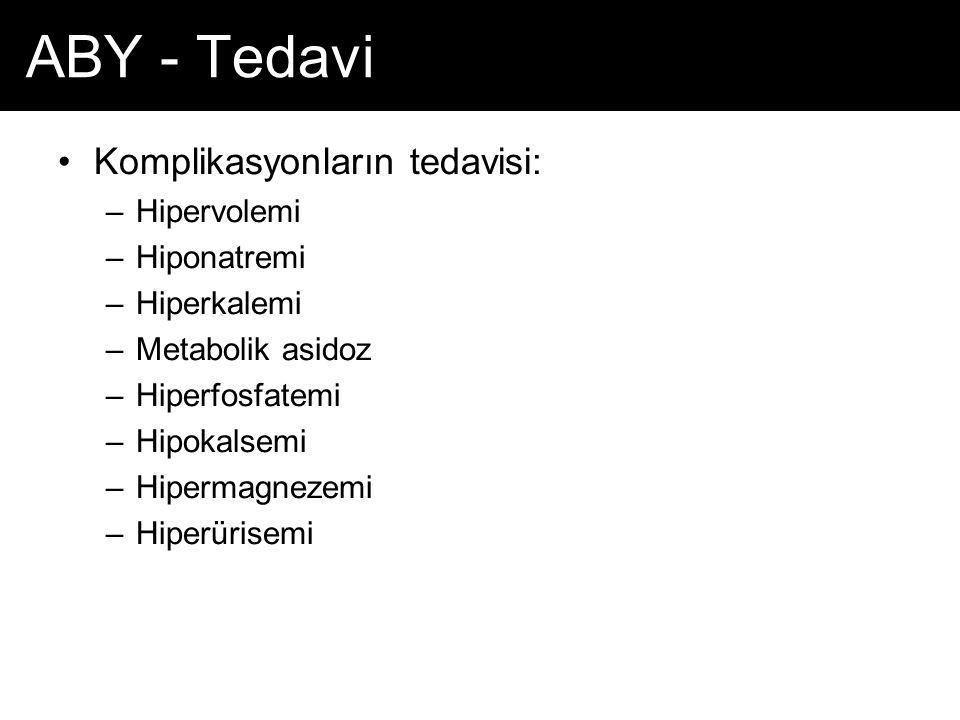 ABY - Tedavi Komplikasyonların tedavisi: –Hipervolemi –Hiponatremi –Hiperkalemi –Metabolik asidoz –Hiperfosfatemi –Hipokalsemi –Hipermagnezemi –Hiperü