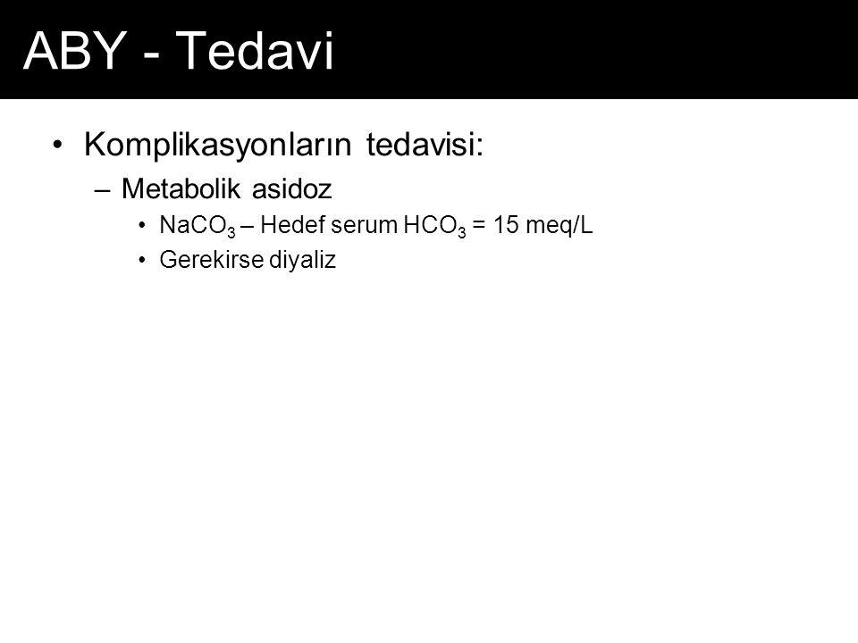 ABY - Tedavi Komplikasyonların tedavisi: –Metabolik asidoz NaCO 3 – Hedef serum HCO 3 = 15 meq/L Gerekirse diyaliz