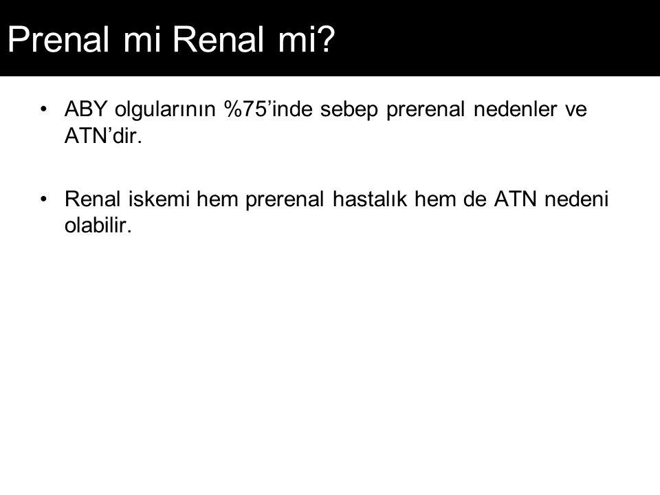 Prenal mi Renal mi.ABY olgularının %75'inde sebep prerenal nedenler ve ATN'dir.