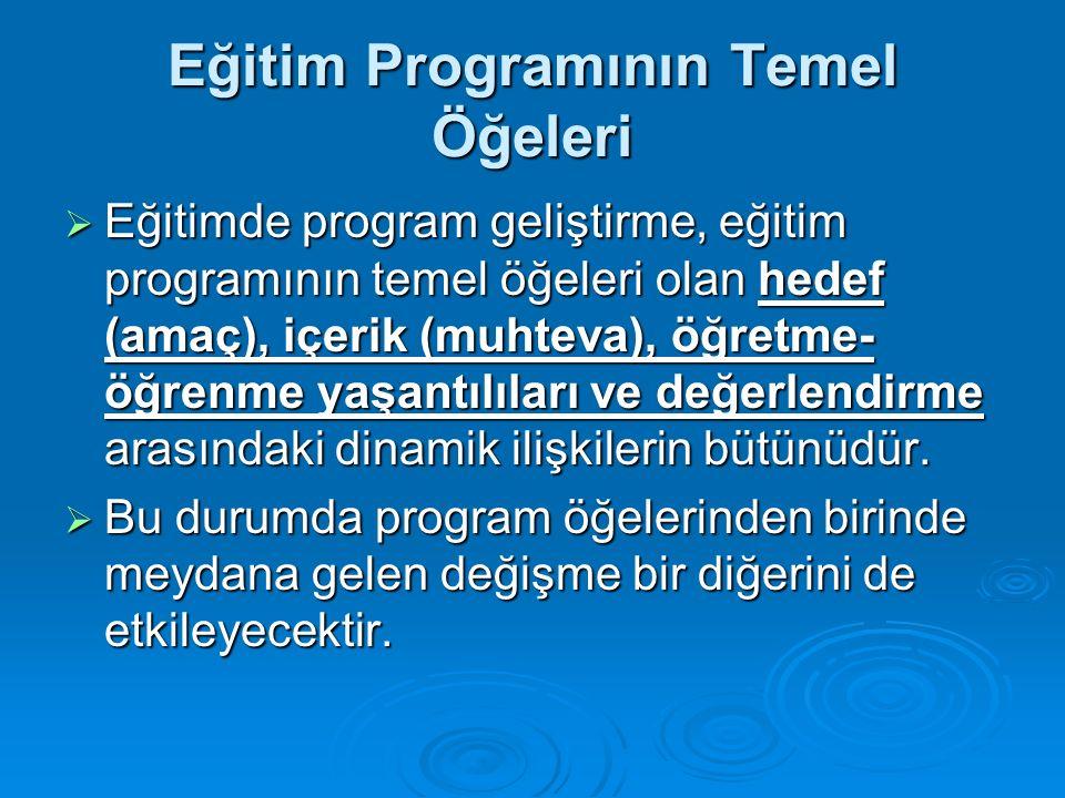 Eğitim Programının Temel Öğeleri  Eğitimde program geliştirme, eğitim programının temel öğeleri olan hedef (amaç), içerik (muhteva), öğretme- öğrenme yaşantılıları ve değerlendirme arasındaki dinamik ilişkilerin bütünüdür.