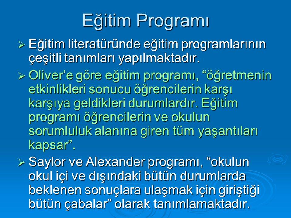 Eğitim Programı  Eğitim literatüründe eğitim programlarının çeşitli tanımları yapılmaktadır.