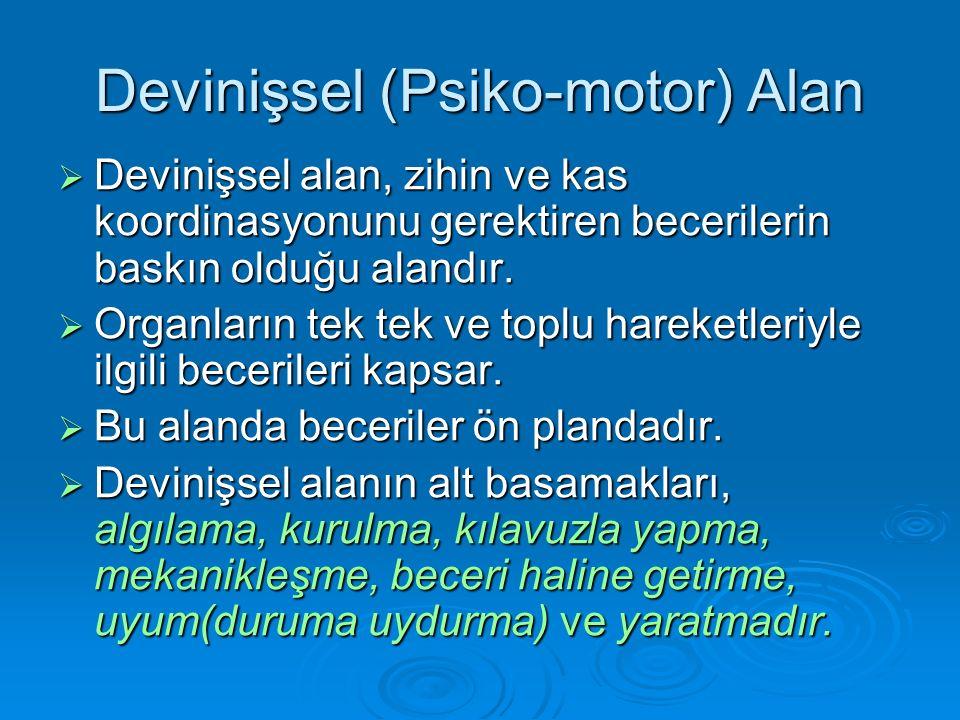 Devinişsel (Psiko-motor) Alan  Devinişsel alan, zihin ve kas koordinasyonunu gerektiren becerilerin baskın olduğu alandır.