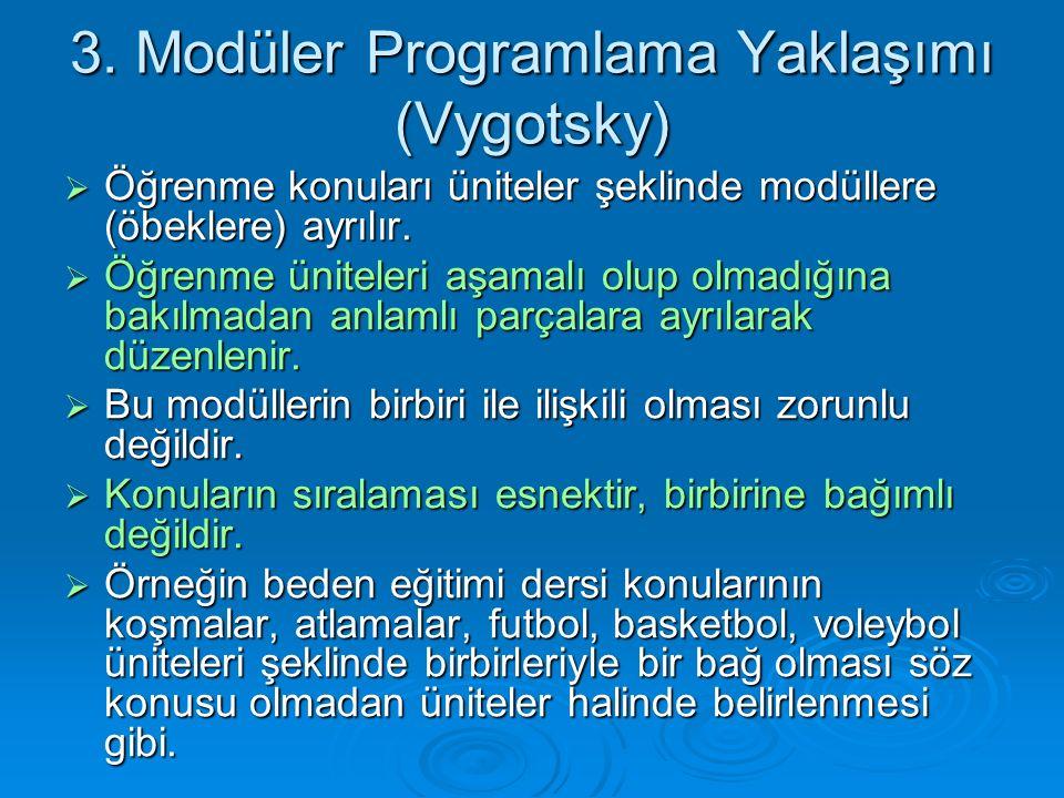 3. Modüler Programlama Yaklaşımı (Vygotsky)  Öğrenme konuları üniteler şeklinde modüllere (öbeklere) ayrılır.  Öğrenme üniteleri aşamalı olup olmadı
