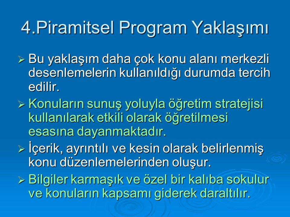 4.Piramitsel Program Yaklaşımı  Bu yaklaşım daha çok konu alanı merkezli desenlemelerin kullanıldığı durumda tercih edilir.