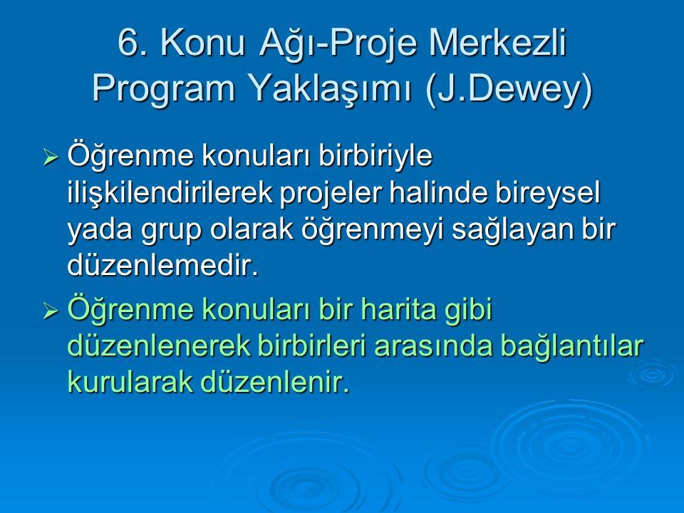 6. Konu Ağı-Proje Merkezli Program Yaklaşımı (J.Dewey)  Öğrenme konuları birbiriyle ilişkilendirilerek projeler halinde bireysel yada grup olarak öğr
