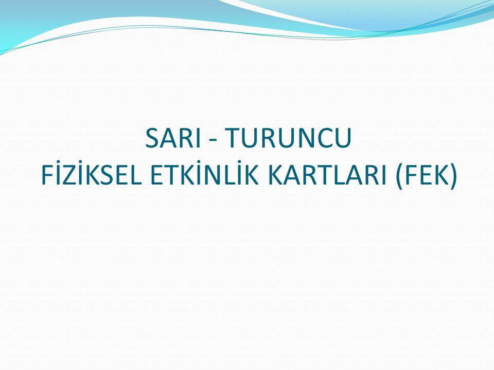 SARI - TURUNCU FİZİKSEL ETKİNLİK KARTLARI (FEK)