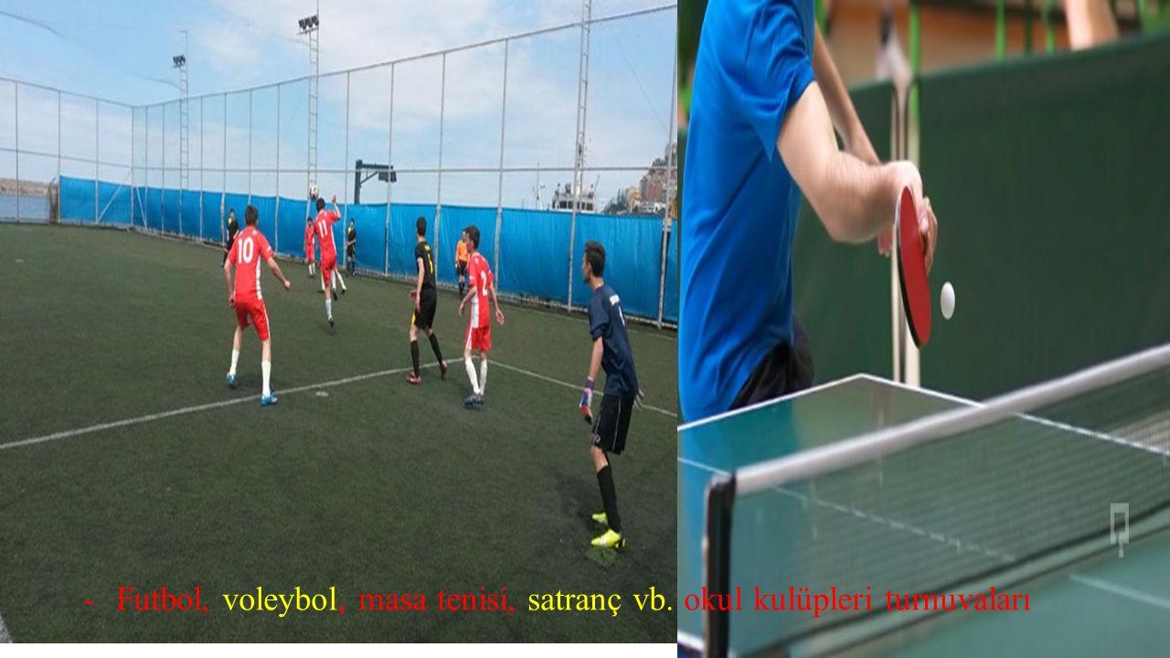 -Futbol, voleybol, masa tenisi, satranç vb. okul kulüpleri turnuvaları