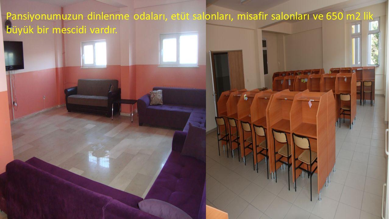 Pansiyonumuzun dinlenme odaları, etüt salonları, misafir salonları ve 650 m2 lik büyük bir mescidi vardır.