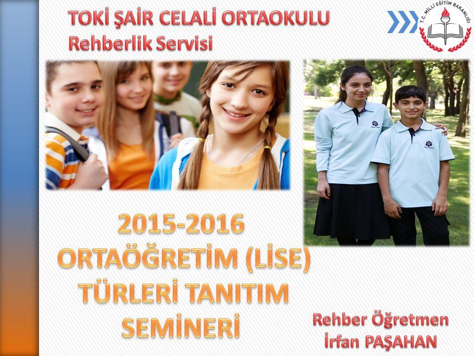 Temel eğitimden ortaöğretime geçiş sistemi ile;  Resmi Fen Liselerine,  Özel Fen Liselerine,  Sosyal Bilimler Liselerine,  Anadolu Liselerine,  Anadolu Mesleki ve Teknik Liselere,  Anadolu İmam-Hatip Liselerine,  Çok Programlı Liselere