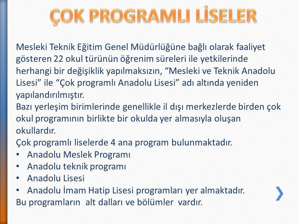 Mesleki Teknik Eğitim Genel Müdürlüğüne bağlı olarak faaliyet gösteren 22 okul türünün öğrenim süreleri ile yetkilerinde herhangi bir değişiklik yapıl