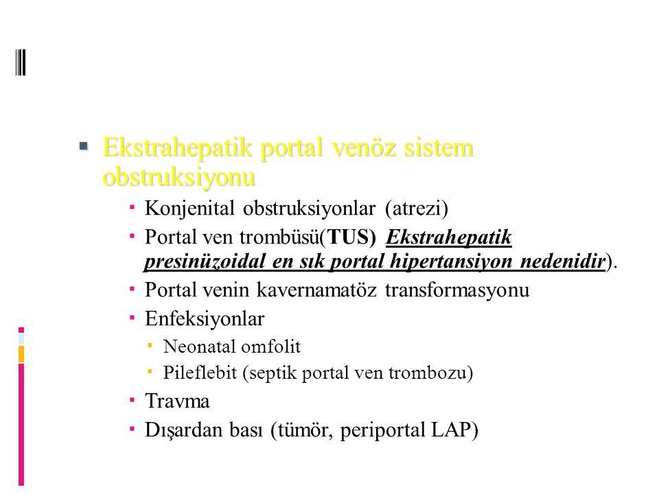  Ekstrahepatik portal venöz sistem obstruksiyonu  Konjenital obstruksiyonlar (atrezi)  Portal ven trombüsü(TUS) Ekstrahepatik presinüzoidal en sık portal hipertansiyon nedenidir).