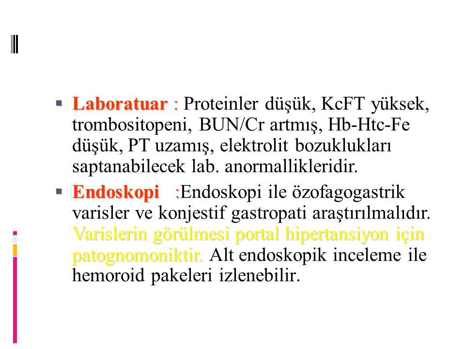  Laboratuar :  Laboratuar : Proteinler düşük, KcFT yüksek, trombositopeni, BUN/Cr artmış, Hb-Htc-Fe düşük, PT uzamış, elektrolit bozuklukları saptanabilecek lab.