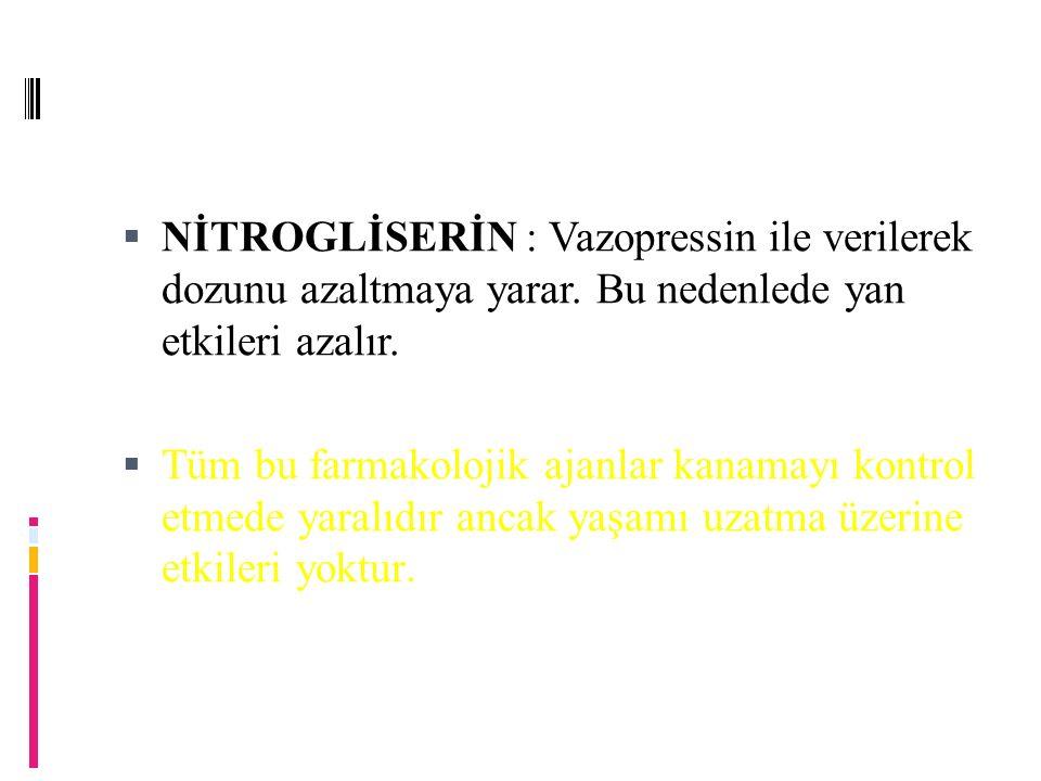  NİTROGLİSERİN : Vazopressin ile verilerek dozunu azaltmaya yarar.