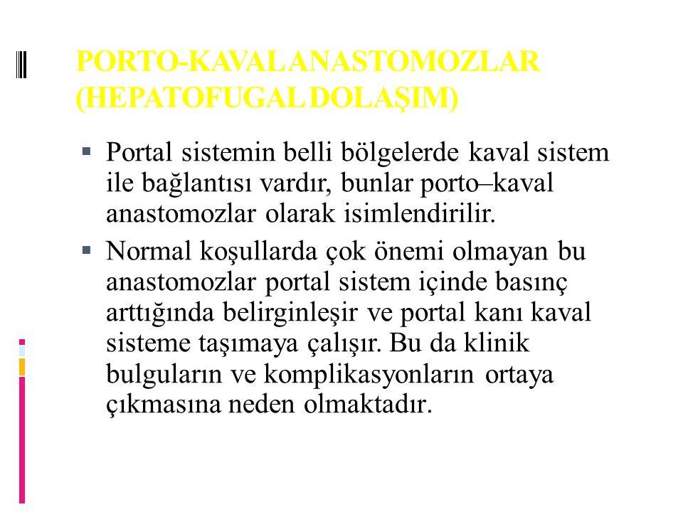 PORTO-KAVAL ANASTOMOZLAR (HEPATOFUGAL DOLAŞIM)  Portal sistemin belli bölgelerde kaval sistem ile bağlantısı vardır, bunlar porto–kaval anastomozlar olarak isimlendirilir.