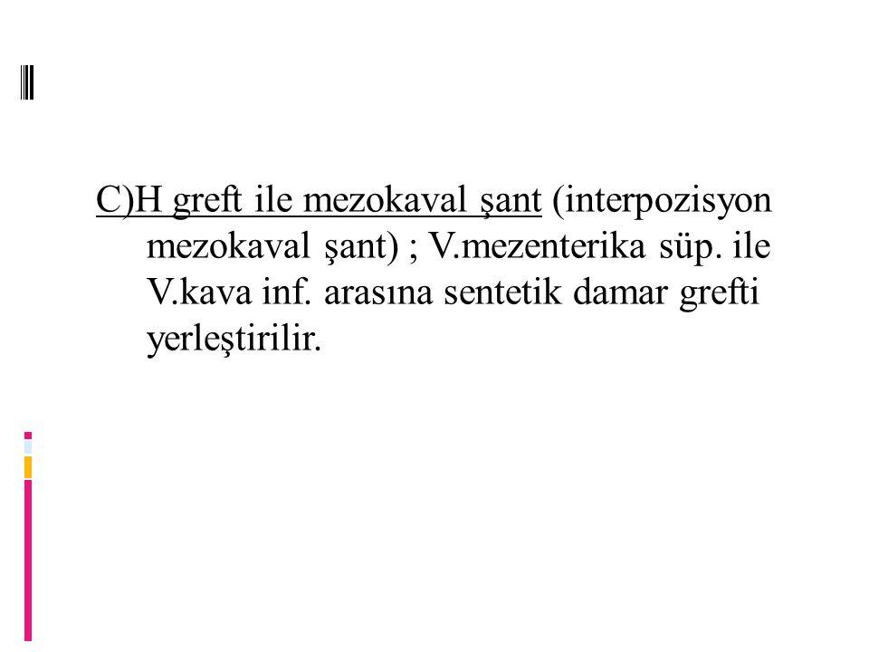 C)H greft ile mezokaval şant (interpozisyon mezokaval şant) ; V.mezenterika süp.