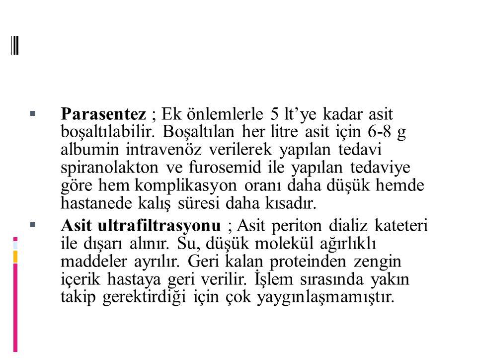  Parasentez ; Ek önlemlerle 5 lt'ye kadar asit boşaltılabilir.