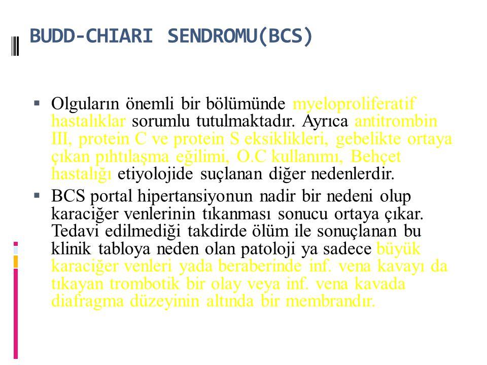 BUDD-CHIARI SENDROMU(BCS) myeloproliferatif hastalıklarantitrombin III, protein C ve protein S eksiklikleri, gebelikte ortaya çıkan pıhtılaşma eğilimi, O.C kullanımı, Behçet hastalığı  Olguların önemli bir bölümünde myeloproliferatif hastalıklar sorumlu tutulmaktadır.