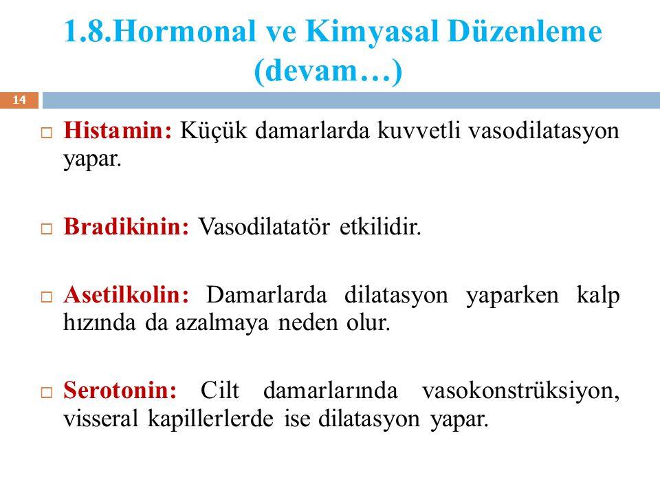 1.8.Hormonal ve Kimyasal Düzenleme (devam…)  Histamin: Küçük damarlarda kuvvetli vasodilatasyon yapar.  Bradikinin: Vasodilatatör etkilidir.  Aseti