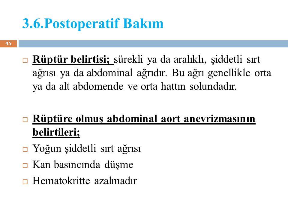 3.6.Postoperatif Bakım  Rüptür belirtisi; sürekli ya da aralıklı, şiddetli sırt ağrısı ya da abdominal ağrıdır. Bu ağrı genellikle orta ya da alt abd