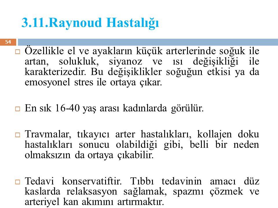 3.11.Raynoud Hastalığı  Özellikle el ve ayakların küçük arterlerinde soğuk ile artan, solukluk, siyanoz ve ısı değişikliği ile karakterizedir. Bu değ