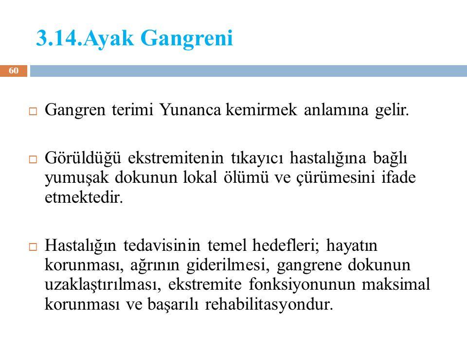 3.14.Ayak Gangreni  Gangren terimi Yunanca kemirmek anlamına gelir.  Görüldüğü ekstremitenin tıkayıcı hastalığına bağlı yumuşak dokunun lokal ölümü