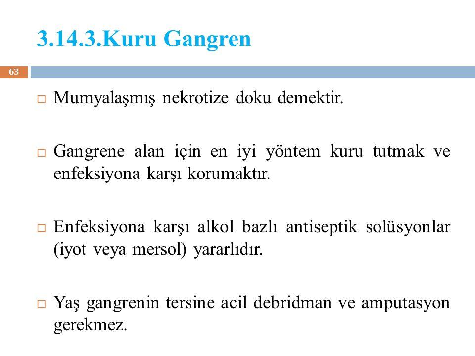 3.14.3.Kuru Gangren  Mumyalaşmış nekrotize doku demektir.  Gangrene alan için en iyi yöntem kuru tutmak ve enfeksiyona karşı korumaktır.  Enfeksiyo