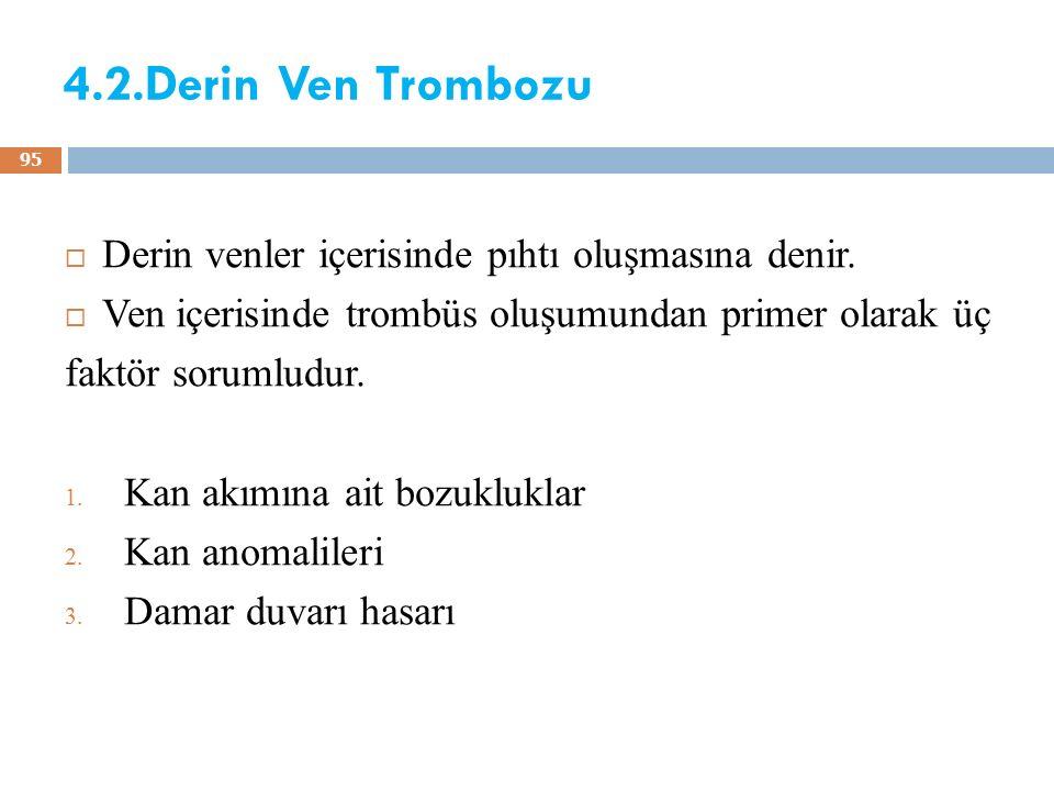 4.2.Derin Ven Trombozu  Derin venler içerisinde pıhtı oluşmasına denir.  Ven içerisinde trombüs oluşumundan primer olarak üç faktör sorumludur. 1. K