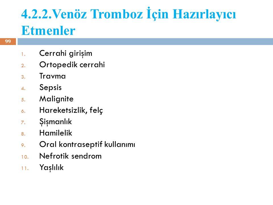 4.2.2.Venöz Tromboz İçin Hazırlayıcı Etmenler 1. Cerrahi girişim 2. Ortopedik cerrahi 3. Travma 4. Sepsis 5. Malignite 6. Hareketsizlik, felç 7. Şişma