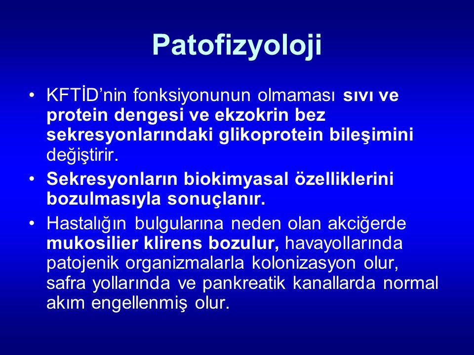 Patofizyoloji KFTİD'nin fonksiyonunun olmaması sıvı ve protein dengesi ve ekzokrin bez sekresyonlarındaki glikoprotein bileşimini değiştirir. Sekresyo