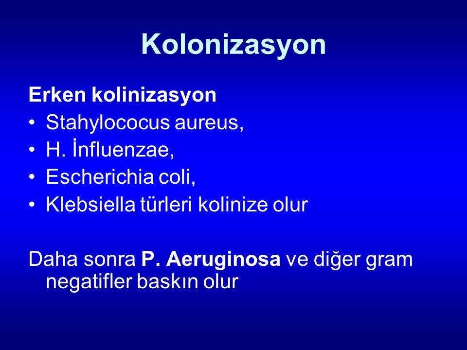 Kolonizasyon Erken kolinizasyon Stahylococus aureus, H. İnfluenzae, Escherichia coli, Klebsiella türleri kolinize olur Daha sonra P. Aeruginosa ve diğ