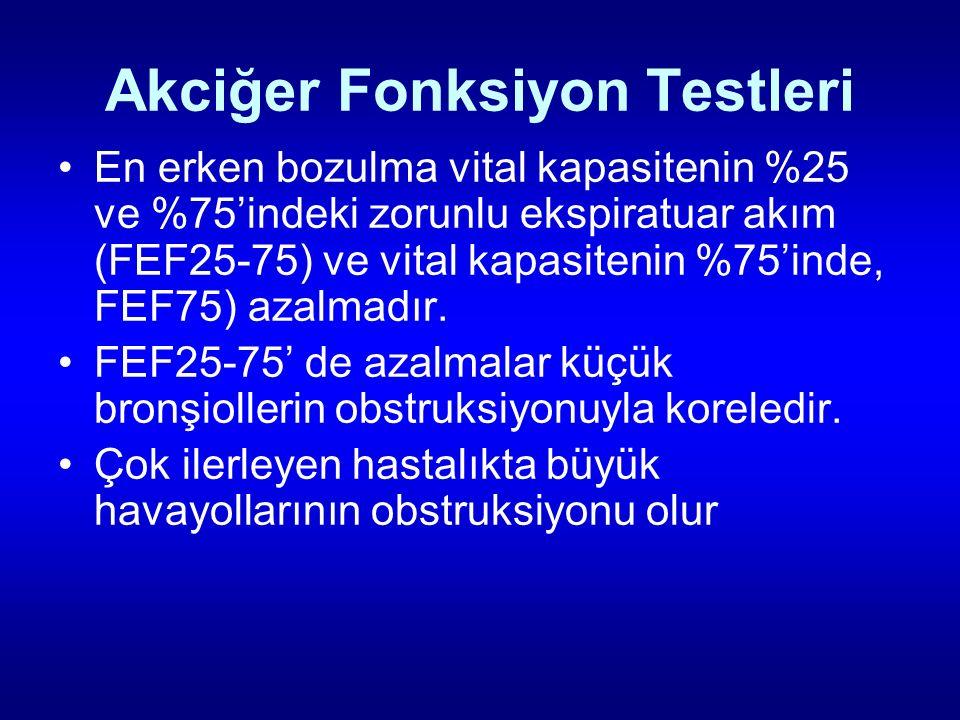 Akciğer Fonksiyon Testleri En erken bozulma vital kapasitenin %25 ve %75'indeki zorunlu ekspiratuar akım (FEF25-75) ve vital kapasitenin %75'inde, FEF