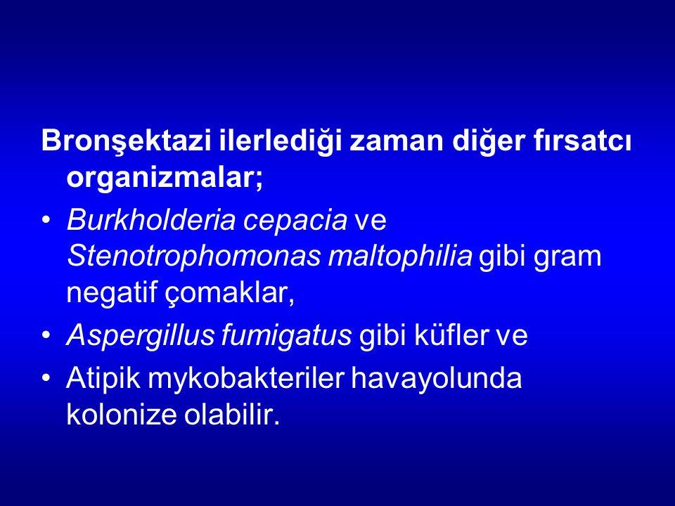 Bronşektazi ilerlediği zaman diğer fırsatcı organizmalar; Burkholderia cepacia ve Stenotrophomonas maltophilia gibi gram negatif çomaklar, Aspergillus