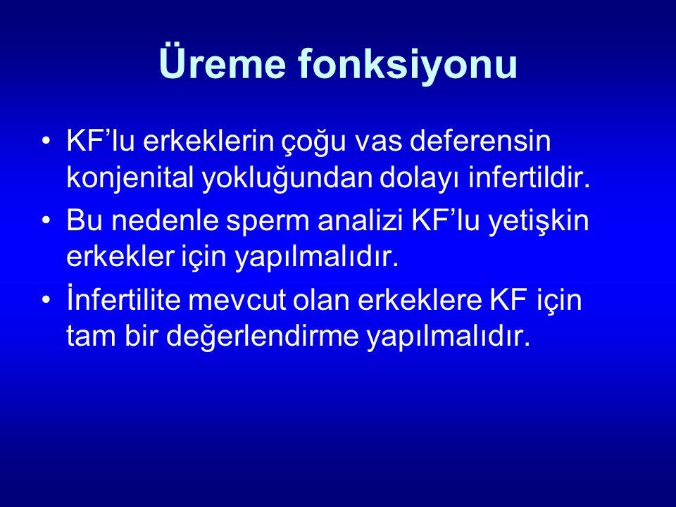 Üreme fonksiyonu KF'lu erkeklerin çoğu vas deferensin konjenital yokluğundan dolayı infertildir. Bu nedenle sperm analizi KF'lu yetişkin erkekler için
