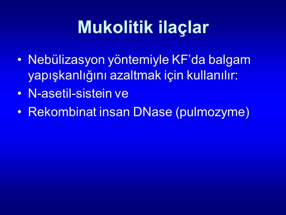 Mukolitik ilaçlar Nebülizasyon yöntemiyle KF'da balgam yapışkanlığını azaltmak için kullanılır: N-asetil-sistein ve Rekombinat insan DNase (pulmozyme)